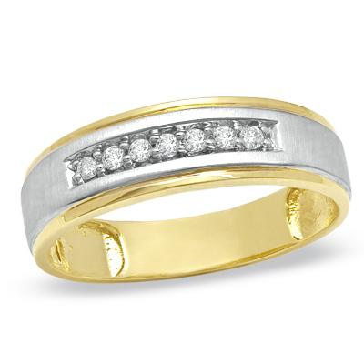 Mens 18 CT TW Diamond Wedding Band in 10K TwoTone The