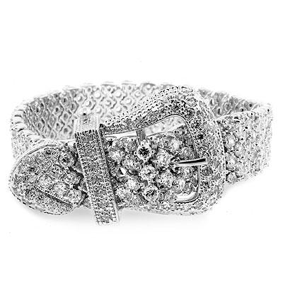 Silver Plated Cubic Zirconia Cz Stone Buckle Bracelet Jewelry