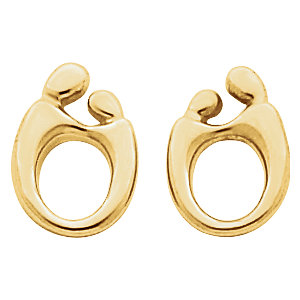 14k Yellow 13 5x10mm Left Mother And Child Earring