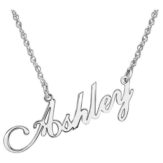 White gold 14k script nameplate necklace ashley the wright jewels white gold 14k script nameplate necklace ashley aloadofball Images