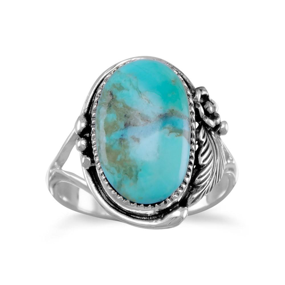 Captivating Sterling Silver Oval Light Blue Turquoise Stone Floral Design Ring