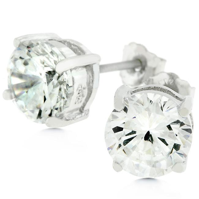Clear Silver Round Studs 6 25 MM Earrings