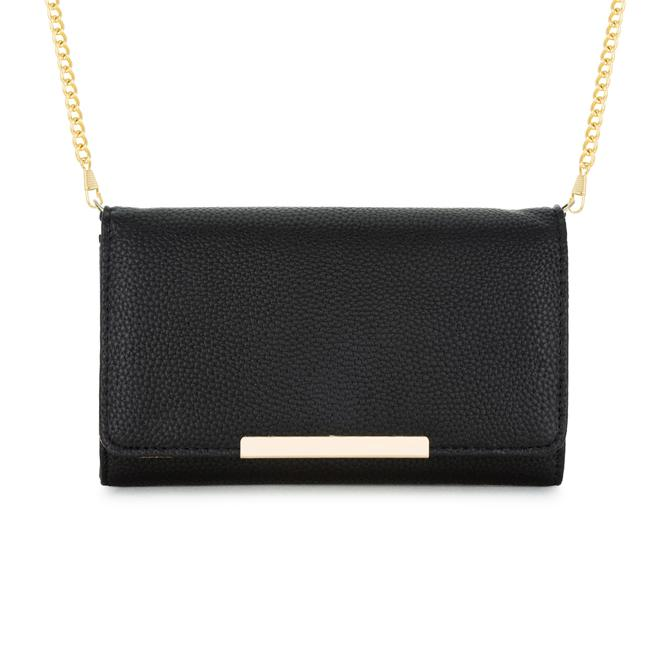 63e8b7bd41 Laney Black Pebbled Faux Leather Clutch With Gold Chain Strap • The ...