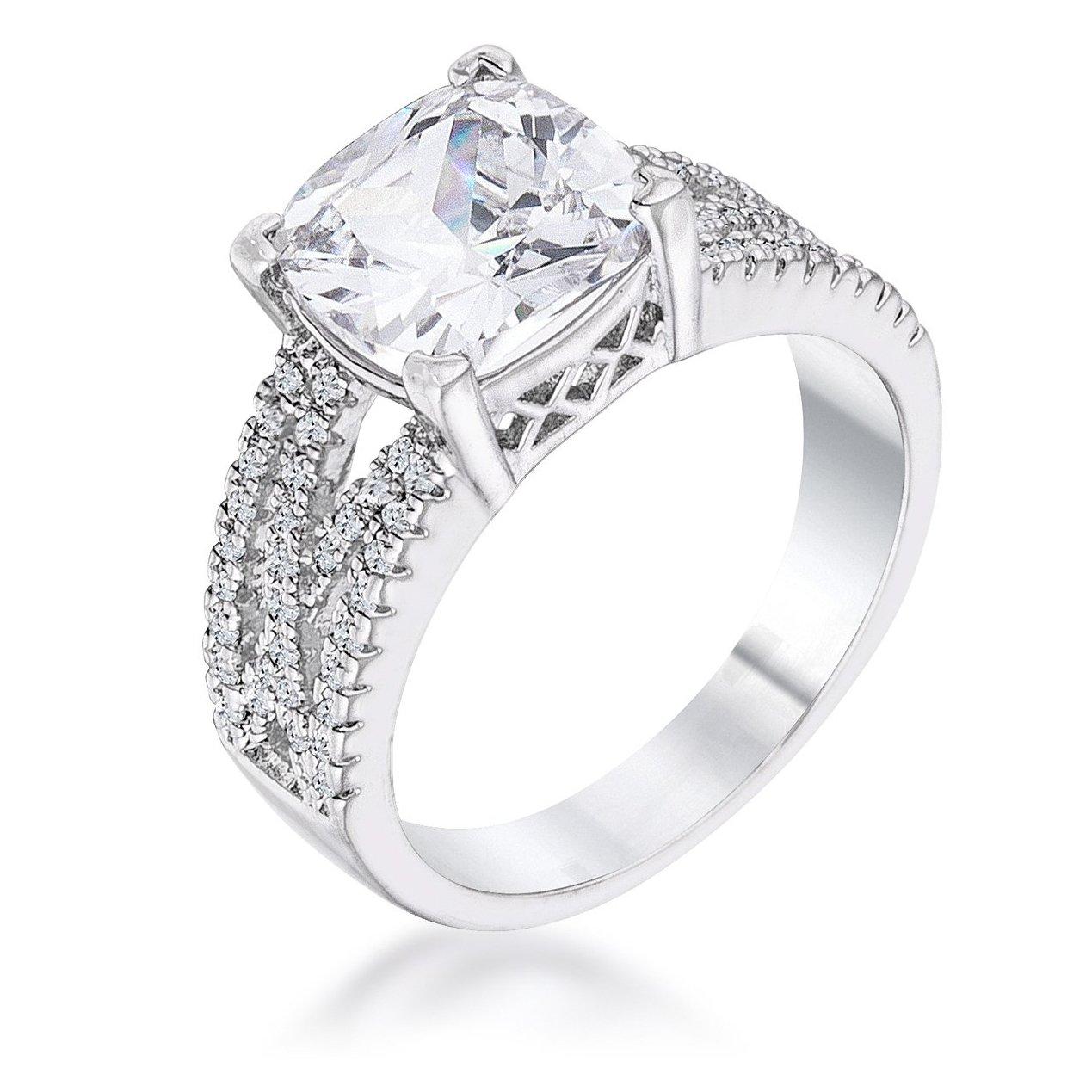 3ct Elegant Rhodium Plated Criss Cross Clear Cz Engagement Ring